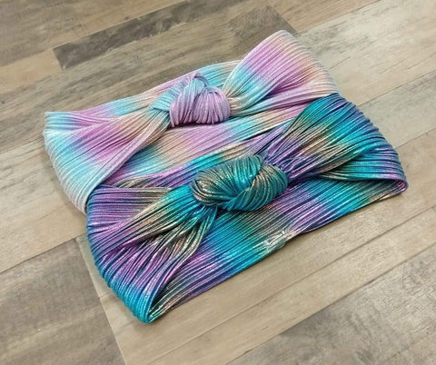 Rainbow Ombre Micropleat Satin with Top Knot