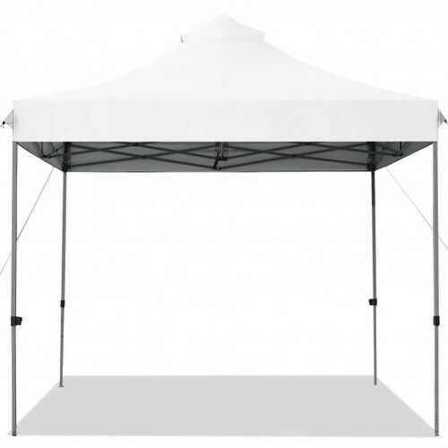 10' x 10' Portable Pop Up Canopy Event Party Tent Adjustable with Roller Bag-White - Color: White