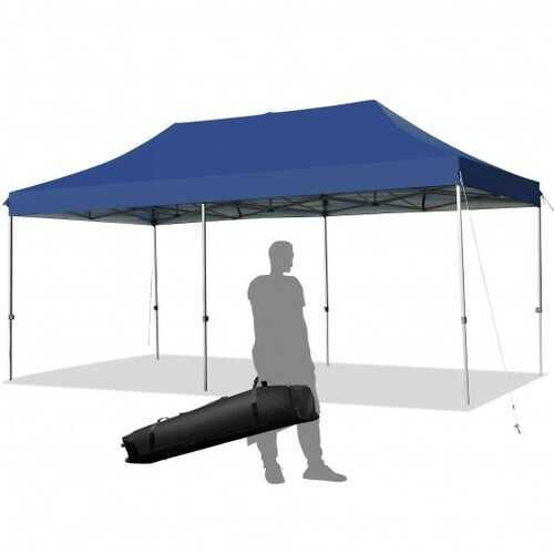 10'x20' Adjustable Folding Heavy Duty Sun Shelter with Carrying Bag-Blue - Color: Blue