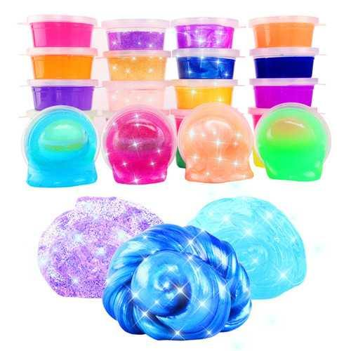 24PCS Colorful Crystal Mud Non Toxic Slime Mud Toys Pinata Luminous Ramen Soil DIY Environmental Toy - NorCal Cyber Sales