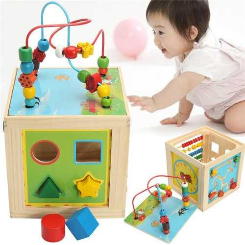 5 in 1 Kids Multi Function Colourful Wooden Activity Cube Toys Puzzle Bead Maze - NorCal Cyber Sales