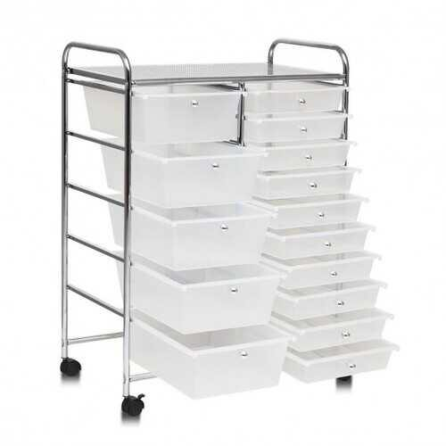 15 Drawers Rolling Storage Cart Organizer-clear - Color: Clear