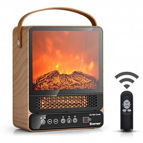 1500W Electric Fireplace Tabletop Portable Space Heater with 3D Flame Effect-Natural - Color: Natural