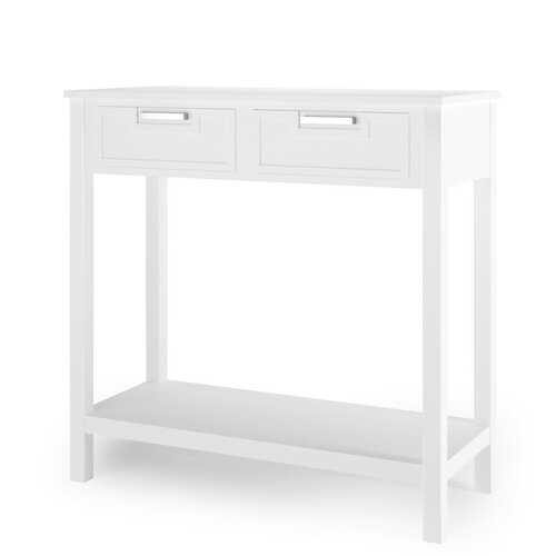 2 Drawers Accent Console Entryway Storage Shelf-White - Color: White