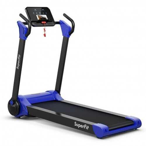 2.25 HP Electric Motorized Folding Running Treadmill Machine with LED Display-Navy - Color: Navy