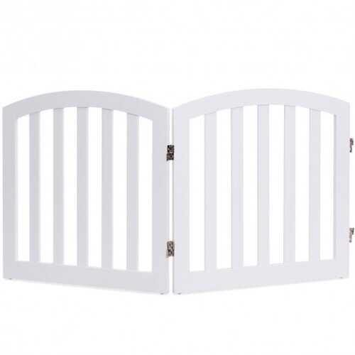 "24"" 2 Panel Configurable Folding Free Standing Wooden Pet Safety Fence with Arched Top-White-A - Color: White-A"
