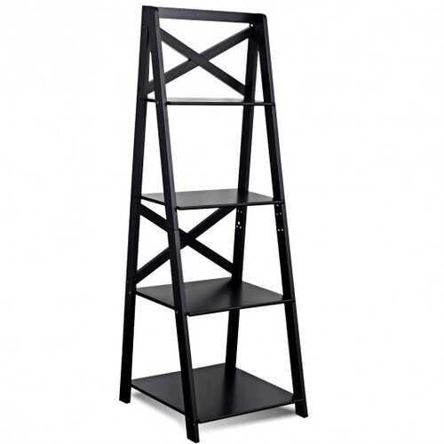 4-Tier Leaning Free Standing Ladder Shelf Bookcase - Color: Black
