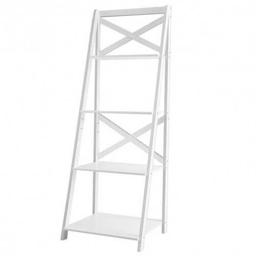 4-tier Leaning Free Standing Ladder Shelf Bookcase-White - Color: White