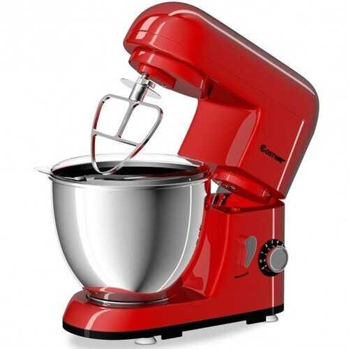 4.3 Qt 550 W Tilt-Head Stainless Steel Bowl Electric Food Stand Mixer-Red - Color: Red