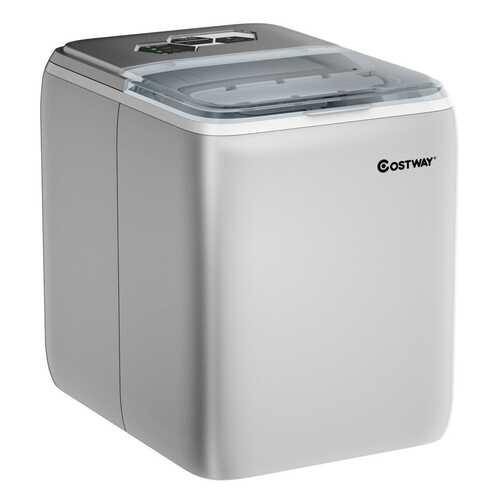 44 lbs Portable Countertop Ice Maker Machine with Scoop-Silver - Color: Silver