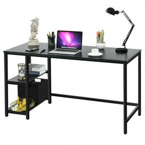 "47""/55"" Computer Desk Office Study Table Workstation Home with Adjustable Shelf Black-L - Size: L"