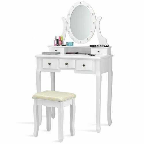5 Drawers Vanity Table Stool Set with 12-LED Bulbs-White - Color: White