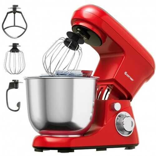 5.3 Qt Stand Kitchen Food Mixer 6 Speed with Dough Hook Beater-Red - Color: Red
