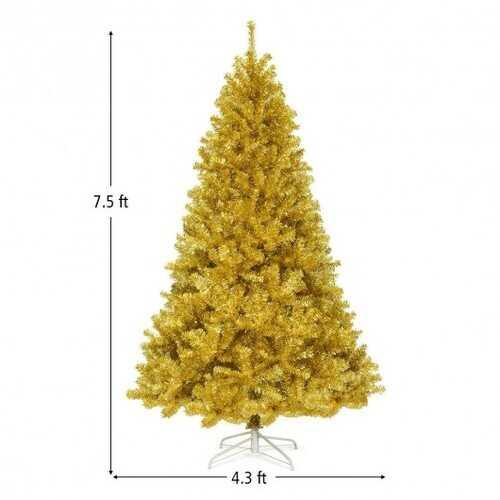 6'/7.5' Artificial Tinsel Christmas Tree Hinged with Foldable Stand-7' - Size: 7.5'