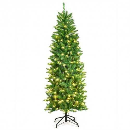 6 ft PVC Hinged Pre-lit Artificial Fir Pencil Christmas Tree with 150 Warm White UL-listed Lights-6' - Size: 6'