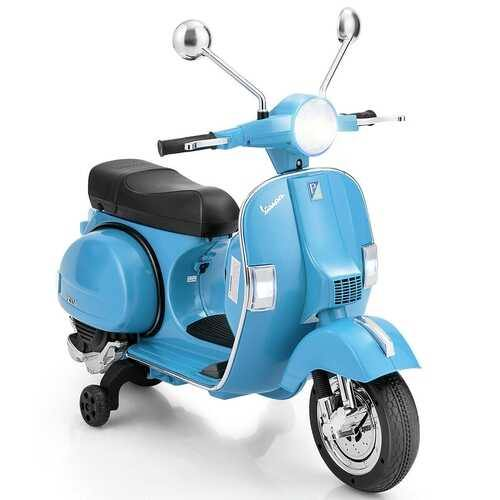6V Kids Ride on Vespa Scooter Motorcycle with Headlight-Blue - Color: Blue