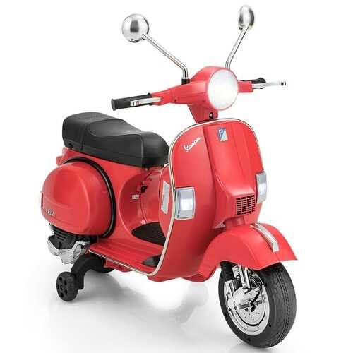 6V Kids Ride on Vespa Scooter Motorcycle with Headlight-Red - Color: Red