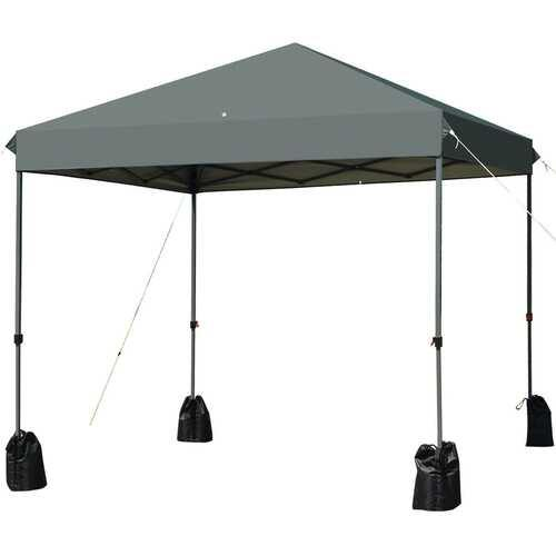 8'x8' Outdoor Pop up Canopy Tent  w/Roller Bag-Gray - Color: Gray