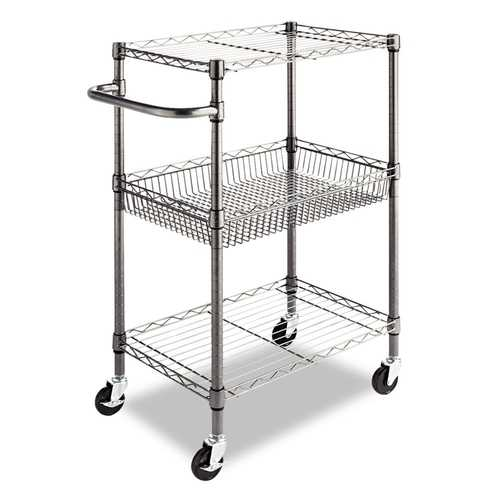 3-Tier Metal Kitchen Cart / Utility Cart with Adjustable Shelves and Casters - NorCal Cyber Sales