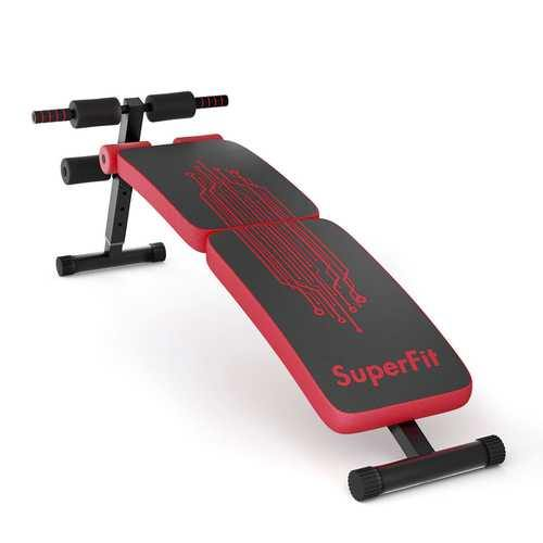 Abdominal Twister Trainer with Adjustable Height Exercise Bench - Color: Red
