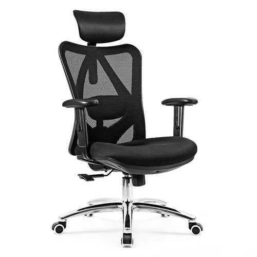 Adjustable Height Mesh Swivel High Back Office Chair - Color: Black