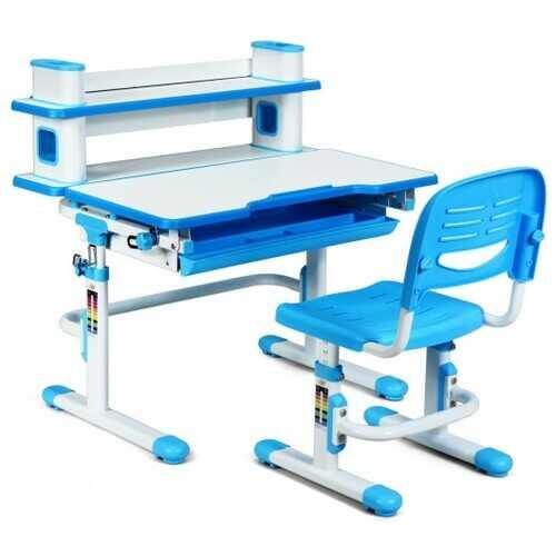 "Adjustable Kids Desk and Chair Set with Bookshelf and Tilted Desktop-Blue - Color: Blue - Size: 31"" x 23.5"" x (31"" - 38.5"")"