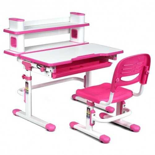 "Adjustable Kids Desk and Chair Set with Bookshelf and Tilted Desktop-Pink - Color: Pink - Size: 31"" x 23.5"" x (31"" - 38.5"")"