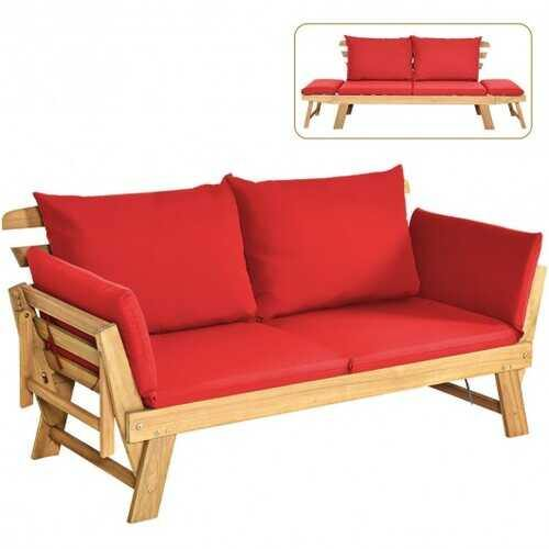 Adjustable  Patio Convertible Sofa with Thick Cushion -Red - Color: Red