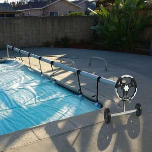 18 ft Pool Cover Reel Set with Hand Crank and Wheels - NorCal Cyber Sales