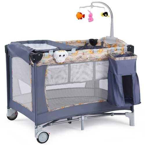 Foldable 2 Color Baby Crib Playpen Playard-Gray - Color: Gray - NorCal Cyber Sales