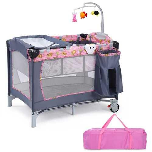 Foldable 2 Color Baby Crib Playpen Playard-Pink - Color: Pink - NorCal Cyber Sales