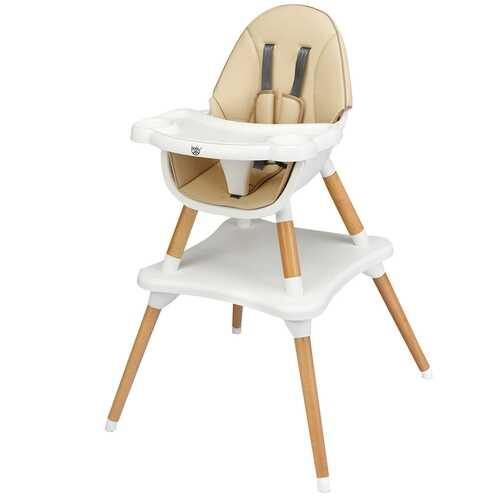 4-in-1 Baby Wooden Convertible High Chair -Khaki - Color: Khaki - NorCal Cyber Sales