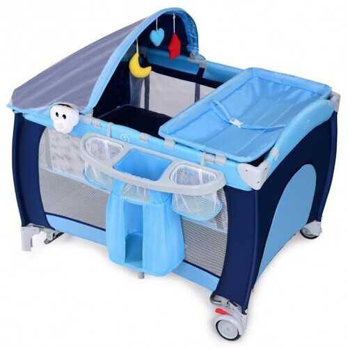 Foldable Baby Crib Playpen w/ Mosquito Net and Bag-Blue - Color: Blue - NorCal Cyber Sales