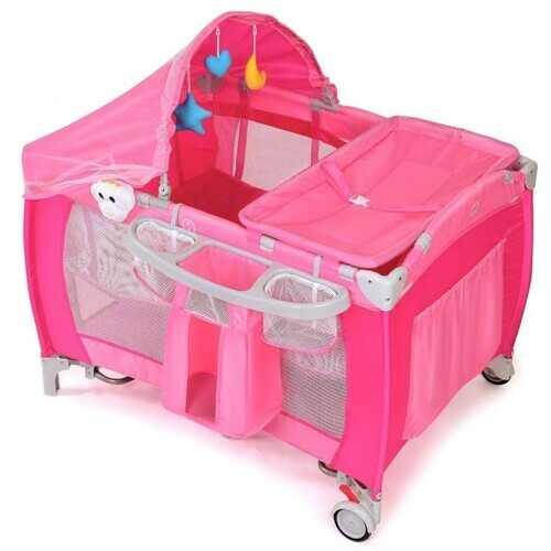Foldable Baby Crib Playpen w/ Mosquito Net and Bag-Pink - Color: Pink - NorCal Cyber Sales