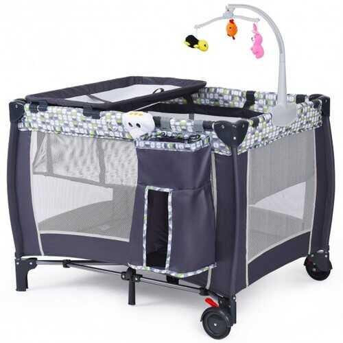 Foldable Travel Baby Crib Playpen Infant Bassinet Bed w/ Carry Bag-Gray - Color: Gray - NorCal Cyber Sales