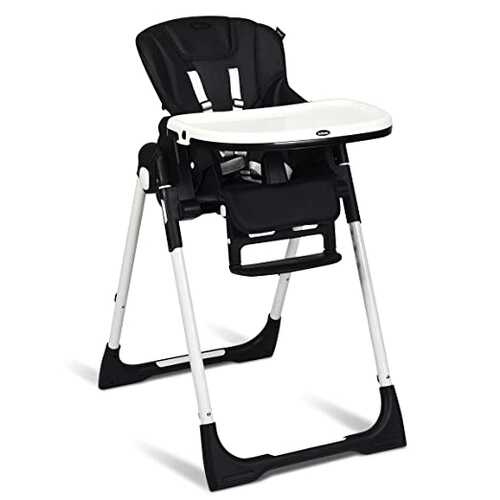 Foldable High chair with Multiple Adjustable Backrest-Black - Color: Black