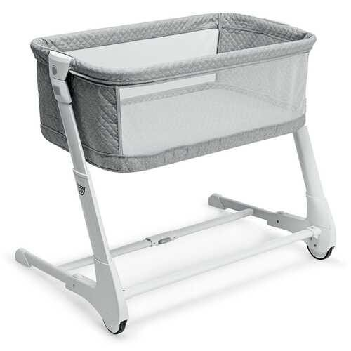 Baby Height Adjustable Bassinet w/ Washable Mattress-Gray - Color: Gray - NorCal Cyber Sales