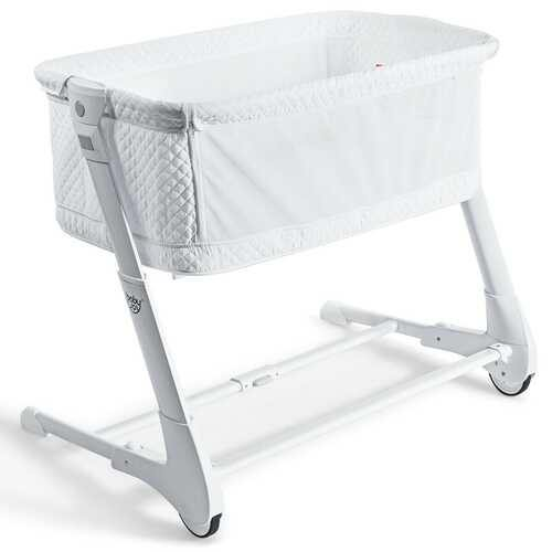 Baby Height Adjustable Bassinet w/ Washable Mattress-White - Color: White - NorCal Cyber Sales