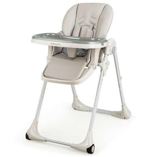 Baby Convertible High Chair with Wheels-Gray - Color: Gray - NorCal Cyber Sales