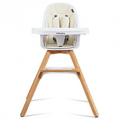 3-in-1 Convertible Wooden Baby High Chair-Beige - Color: Beige - NorCal Cyber Sales