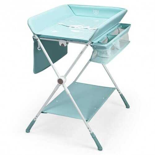 Folding Baby Changing Table with Storage -Blue - Color: Blue - NorCal Cyber Sales