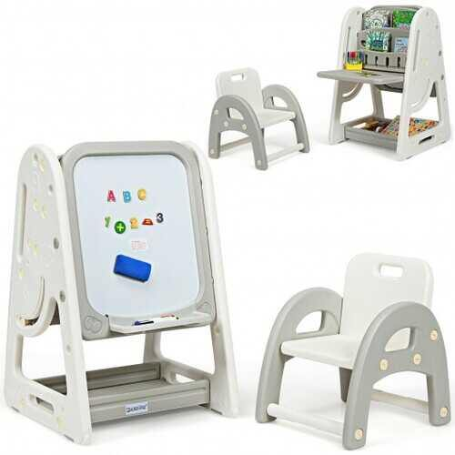 2 in 1 Kids Easel Desk Chair Set Book Rack Adjustable Art Painting Board-Gray - Color: Gray - NorCal Cyber Sales