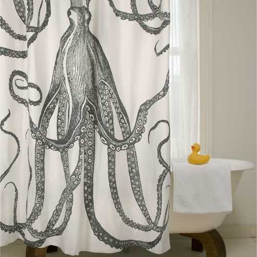 Black and White Octopus Shower Curtain 100-Percent Cotton 72 x 72-inch - NorCal Cyber Sales