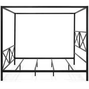 Queen size Modern Industrial Style Canopy Bed Frame in Black Metal Finish - NorCal Cyber Sales