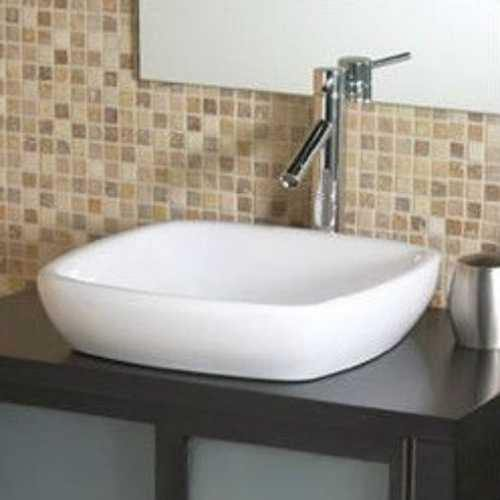 Modern Classic Style Semi- Recessed Square White Ceramic Vessel Bathroom Sink - NorCal Cyber Sales