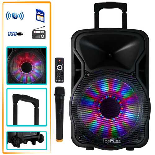 beFree Sound 12 Inch 2500 Watt Bluetooth Rechargeable Portable Party PA Speaker with Illuminating Lights - NorCal Cyber Sales