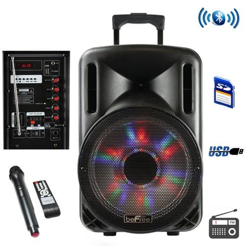 beFree Sound 12 Inch 2500 Watt Bluetooth Portable Party PA Speaker With Illuminating Lights and USB/MicroSD/AUX-in/FM Radio/DV12V Inputs - NorCal Cyber Sales
