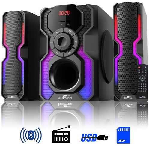 beFree Sound 2.1 Channel Bluetooth Multimedia Wired Speaker Shelf Stereo System with Reactive LED Lights, FM Radio, USB, and SD Inputs