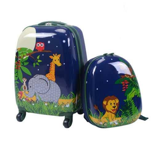 "2 Pcs 12"" and 16"" Kids Carry on Suitcase Rolling Backpack School Luggage Set - NorCal Cyber Sales"