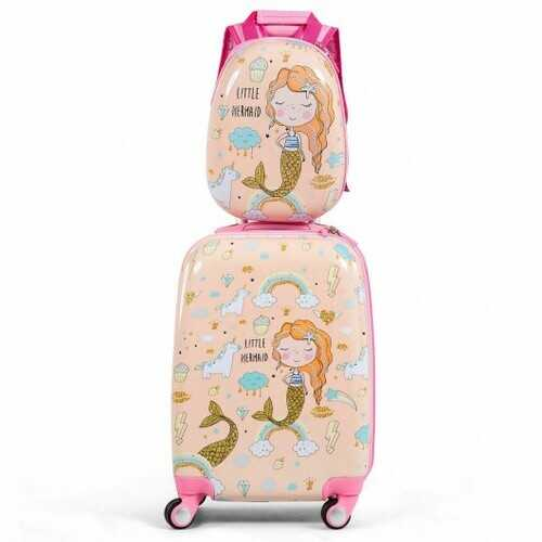 2PC Kids Luggage Set Rolling Suitcase & Backpack-Pink - Color: Pink - NorCal Cyber Sales